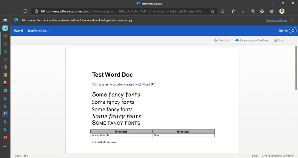 Word document in Edge opened with Office Viewer