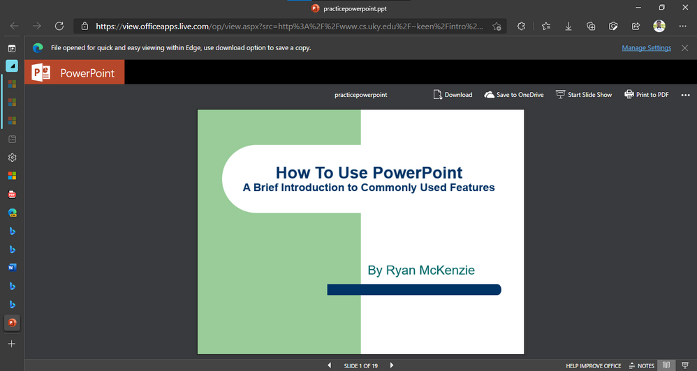 Presentation from the web in Office Viewer