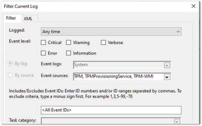 Filtering properties for the System event log
