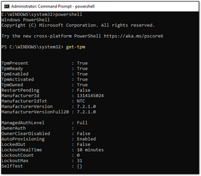 Example screenshot of a present and active TPM in a PowerShell window