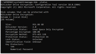 Example screenshot of the manage-bde.exe command in a Command Prompt window