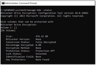 Example screenshot of a device not encrypted with BitLocker
