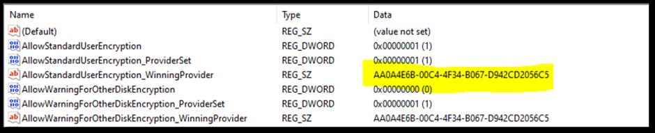 BitLocker registry location in the Registry Editor
