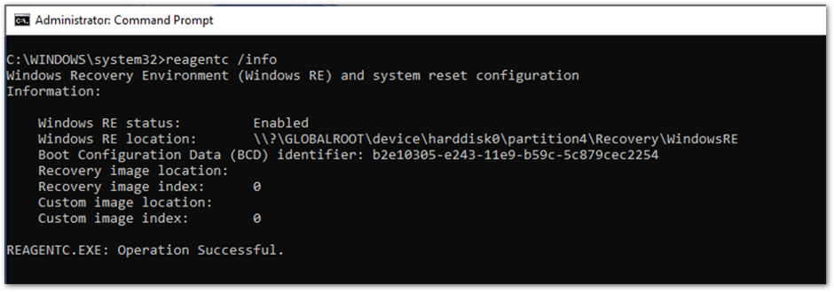 Output of the ReAgentC.exe command in Command Prompt