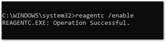 Example screenshot to enable ReAgentC.exe in Command Prompt