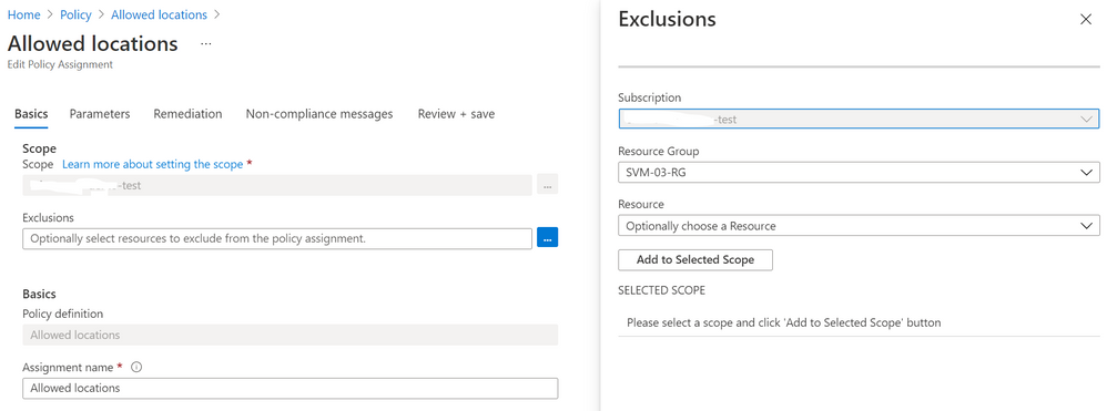 Exclude a resource group from an Azure Policy assignment