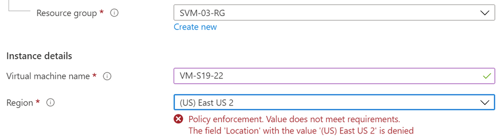 VM creation warning on location not meeting Azure Policy assignment