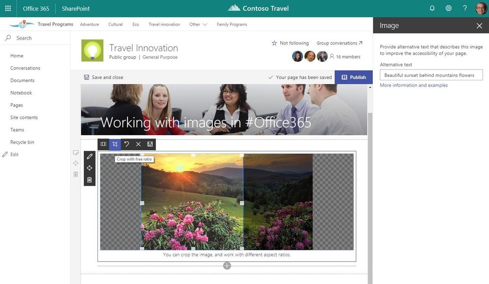 Within an Image web part, tap on the image to bring up a selection of inline image editing tools.