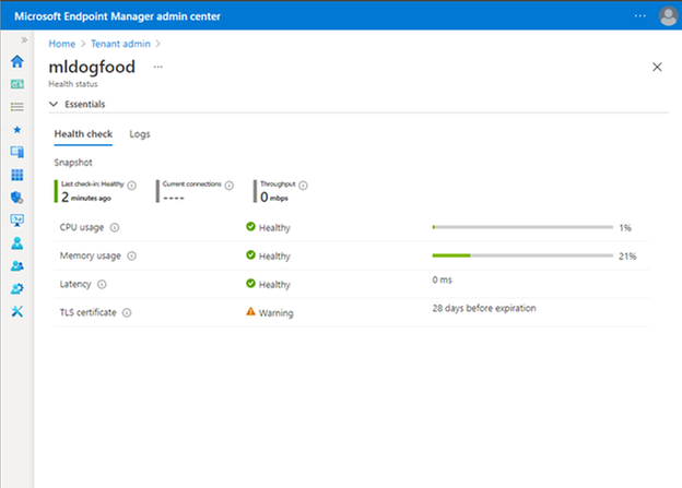 Microsoft Endpoint Manager admin center view of Tunnel performance and health metrics.png