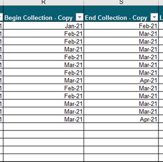 Copied column with dates changed to Months for filter