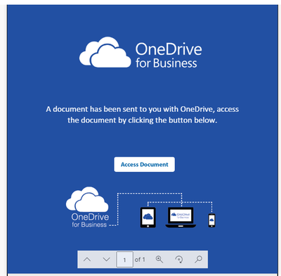 """Malicious document planted in user's OneDrive. The """"Access Document"""" button is a link pointing to an external malicious site."""