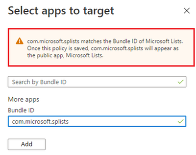 "Example screenshot when adding ""com.microsoft.splists"" to an Intune App protection policy"