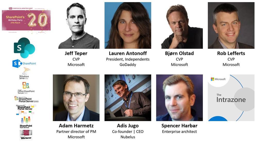 Intrazone guests – clockwise, starting top left – first row: Jeff Teper (CVP | Microsoft), Lauren Antonoff (President, independents | GoDaddy), Bjørn Olstad (CVP | Microsoft), Rob Lefferts (CVP | Microsoft) – bottom row: Adam Harmetz (Partner director of program management | Microsoft), Adis Jugo (Co-founder and CEO | Nubelus), and Spencer Harbar (Enterprise architect).