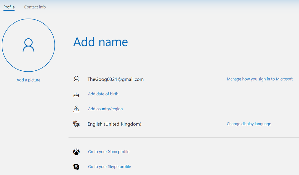 gmail.com address used for a Microsoft Account