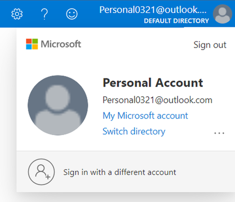 Microsoft Account signed in to access Azure