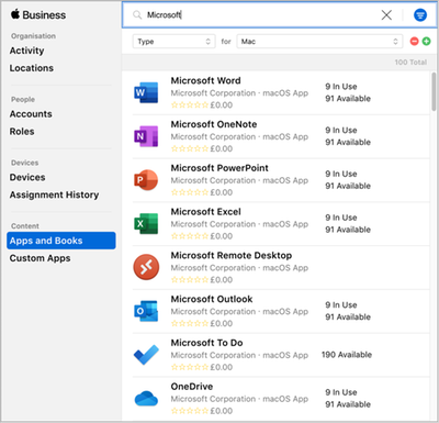 Microsoft apps in the Apple Volume Purchase Plan (VPP) Apps and Books console