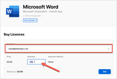 Example screenshot of purchasing the Microsoft Word app with license count