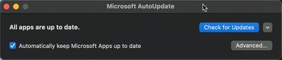 Screenshot of the Microsoft AutoUpdate (MAU) tool