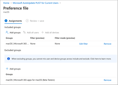 Microsoft AutoUpdate PLIST for Standard users - Assignment settings