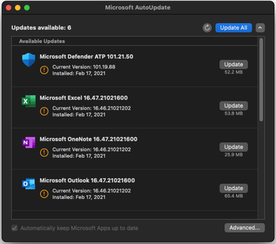 Microsoft AutoUpdate (MAU) tool - Available updates