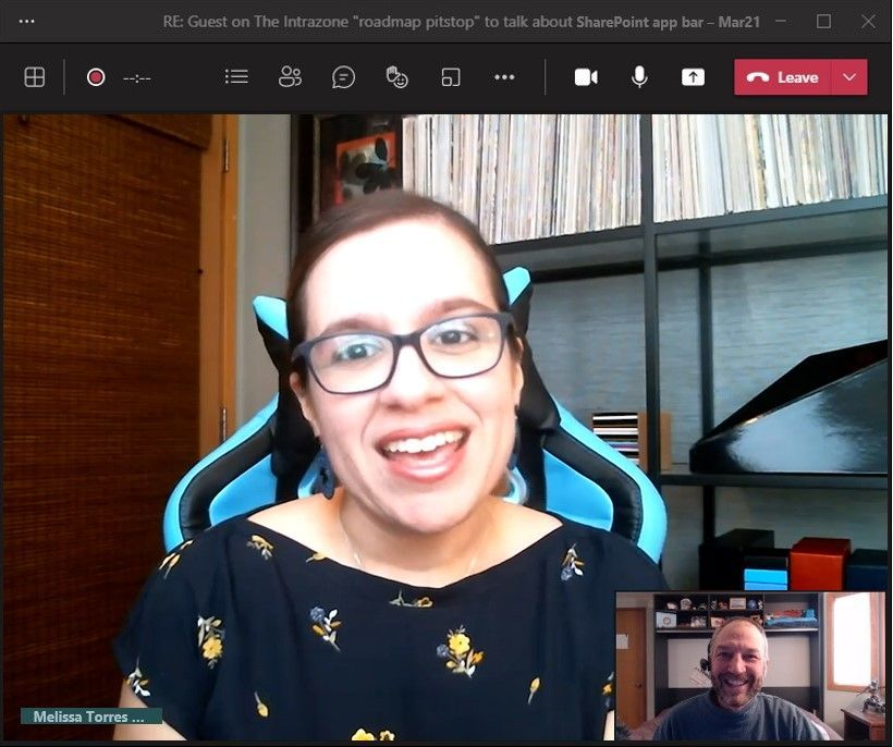 Melissa Torres, principal program manager at Microsoft [Intrazone guest], with little Mark Kashman [co-host] in the bottom right corner during our interview over Teams.