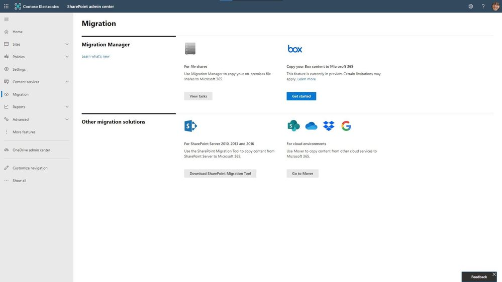 thumbnail image 8 captioned Start your Box content migration into Microsoft 365 directly from within the SharePoint admin center Migration Manager console.