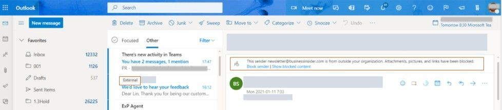 thumbnail image 1 of blog post titled   							Native external sender callouts on email in Outlook