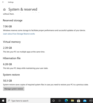 system restore is consuming 50 gb of space