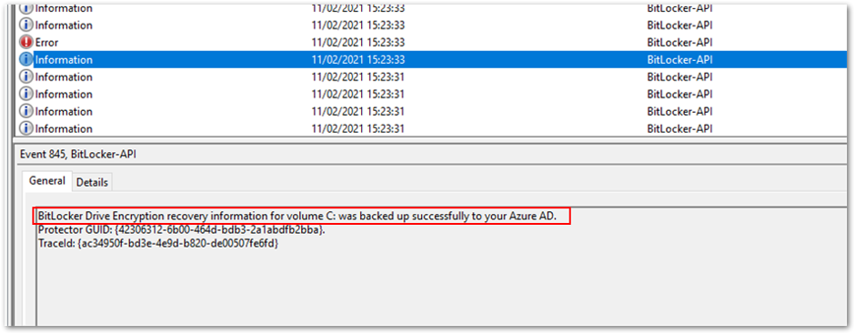 Successful back-up to Azure AD