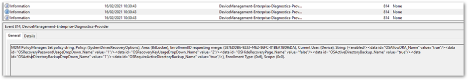 Policy settings in the DeviceManagement-Enterprise-Diagnostic-Provider event log