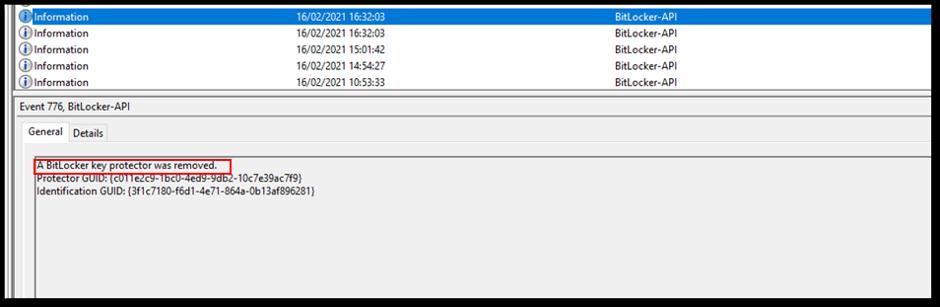 BitLocker-API event log