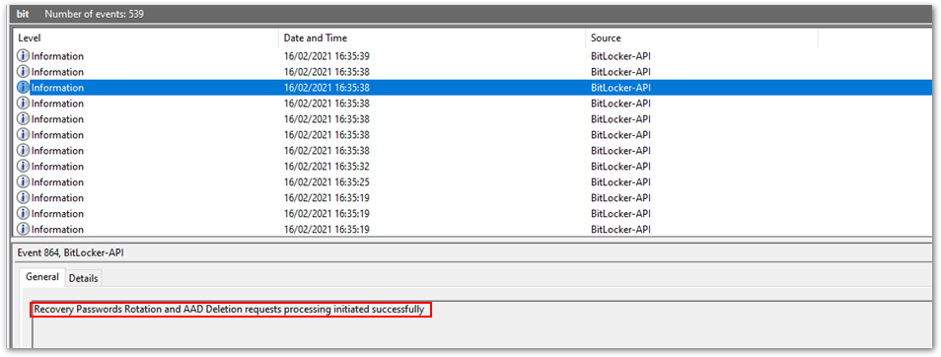 Successful recovery password rotation and Azure AD deletion request
