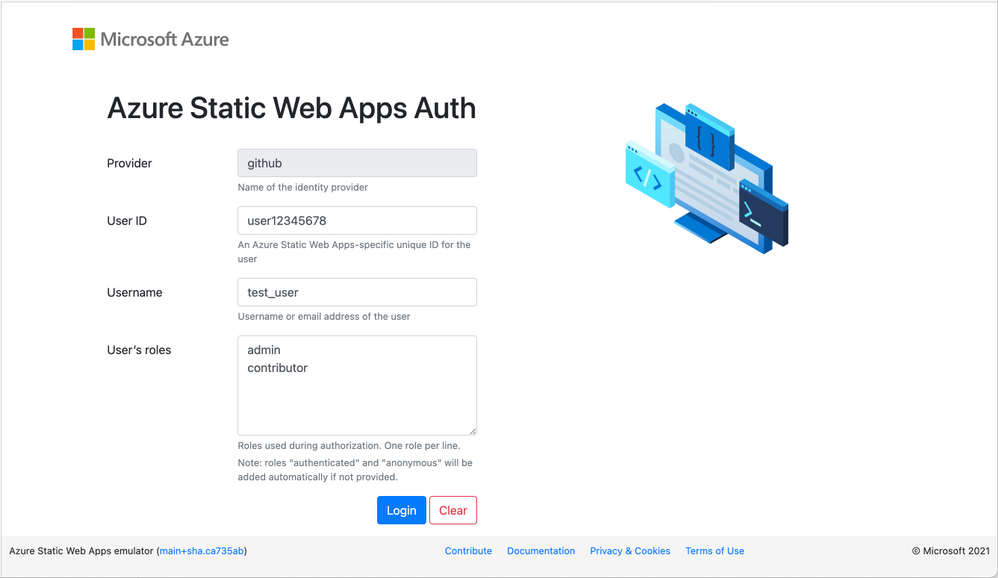 Static Web Apps CLI local authentication page