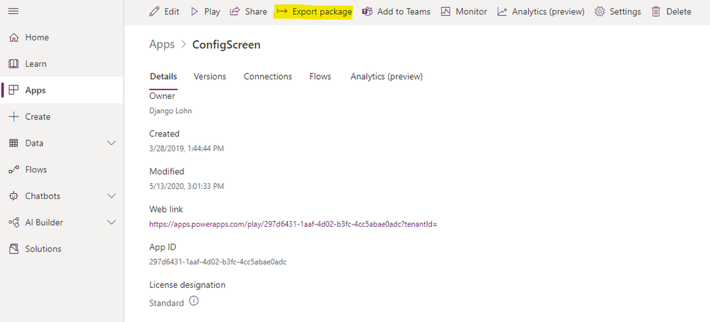 Export your Power App as a packaged ZIP file