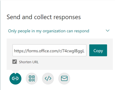 Shortened URL for Sharing Forms to Respondents