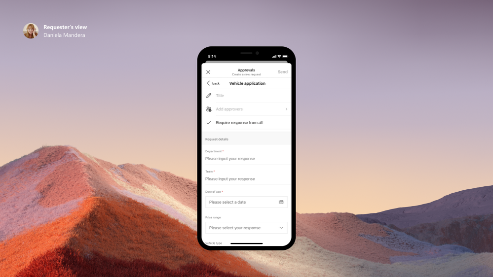 Submit Approval Request on Teams mobile