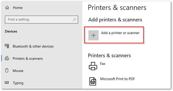 Add Printer or Scanner.