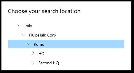 Search Location Hierarchy.