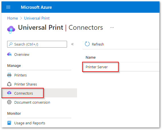 UP Connector on Azure Portal.