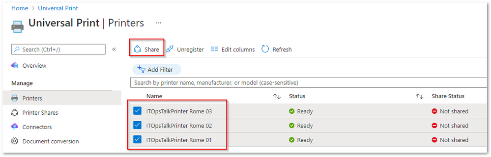 Share multiple printers at the same time from the Azure portal.