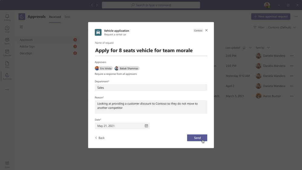 Submit Approval Request on Teams desktop
