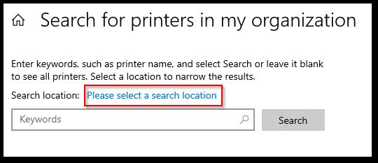 Search Printer Location.