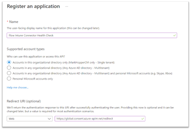 Registering a new application in Azure Active Directory.