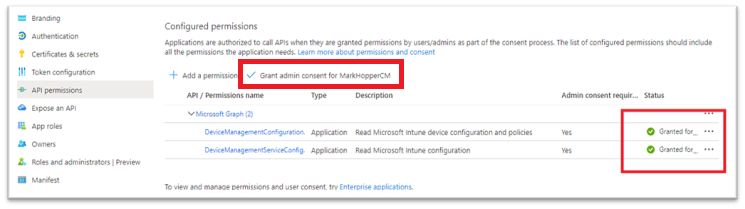 Granting admin consent for the organization in Azure Active Directory.