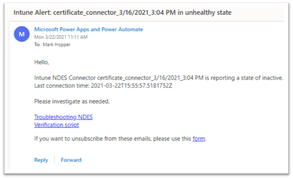 Example screenshot of an email notification sent to an admin.