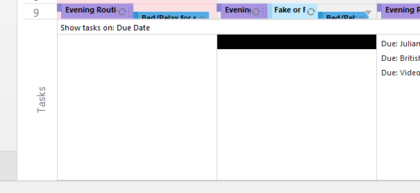 In this example, the Tasks for Tuesday are concealed by a black line and white shading (there are 10 tasks listed for this day). Even though the first line only appears to be covered (i.e. black bar) the whole task pane for that day is concealed.