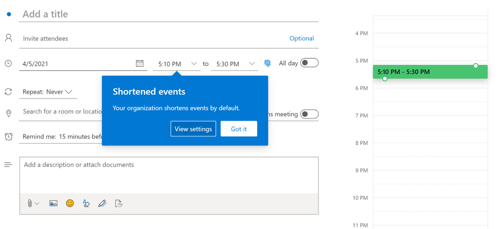 thumbnail image 1 of blog post titled              New settings in Outlook give everyone a break between meetings