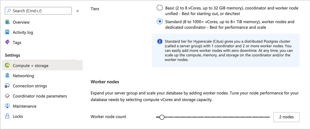 Figure 5: Switch from Basic tier to Standard tier in Hyperscale (Citus) on the Azure Portal's Compute + storage screen.