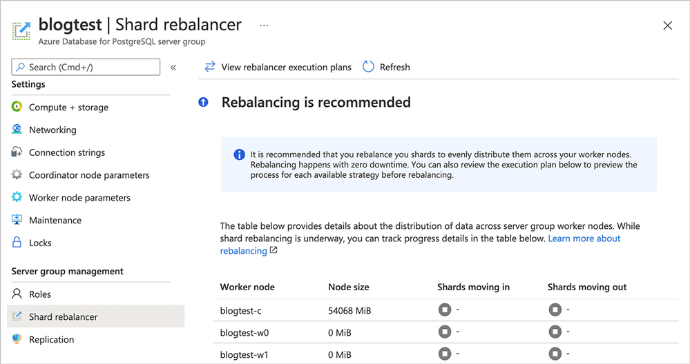 Figure 6: Screenshot of the Azure portal's Shard rebalancer screen when rebalancing is recommended. In this scenario, you can see that the 2 newly-added worker nodes (blogtest-w0 and blogtest-w1) each have 0 MiB of data—they are empty!