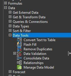 Ribbon -> Main Tabs -> Data -> Data Tools -> Missing Text to Columns...